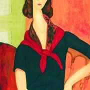 Jeanne Hebuterne with red scarf